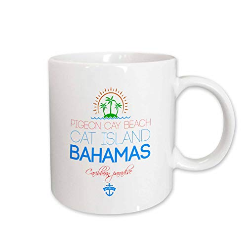 (3dRose Alexis Design - Caribbean Beaches Bahamas - Pigeon Cay Beach, Cat Island, Bahamas. Summer travel gift, souvenir - 15oz Two-Tone Black Mug (mug_315849_9))
