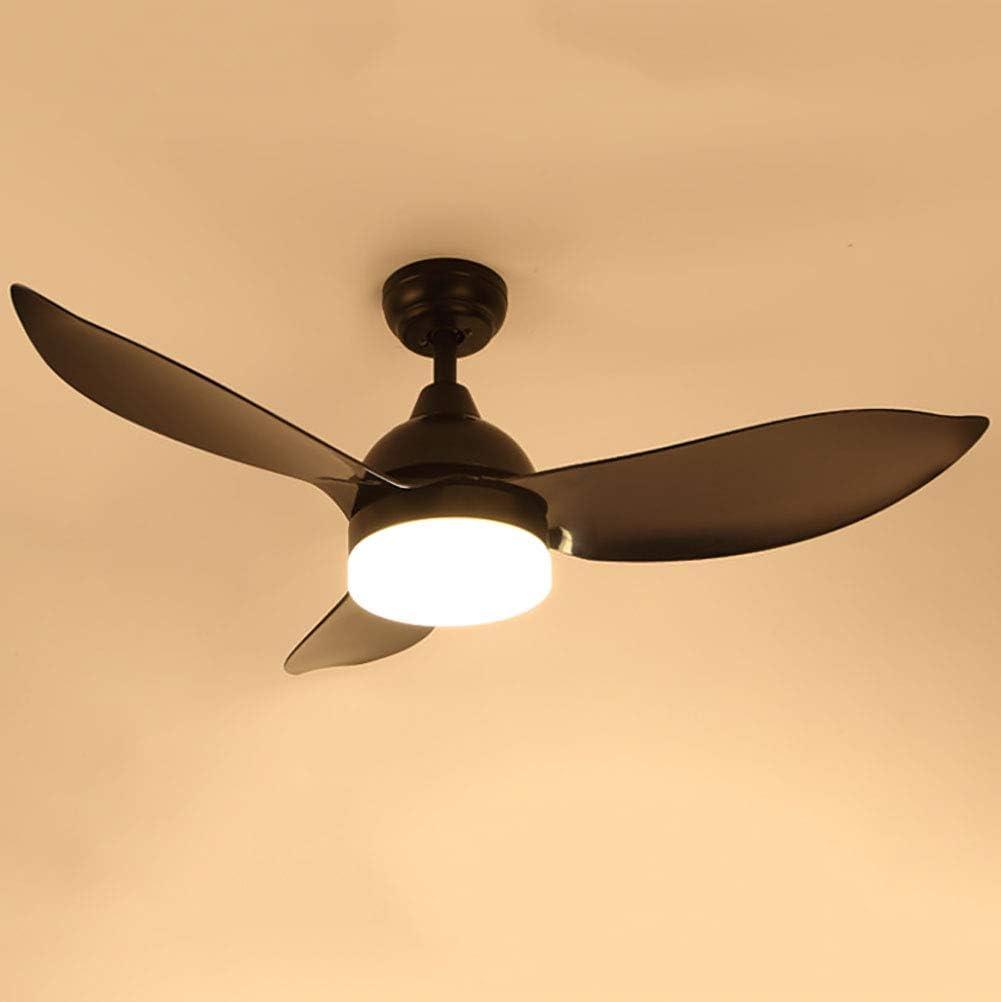 AIXIN Luz Ventilador de Techo Nordic Light Led Fan Fan Tres imitación de Madera del Arte plástico Moderno Simple Inicio Altura Ajustable con Ventilador eléctrico de la lámpara,Negro
