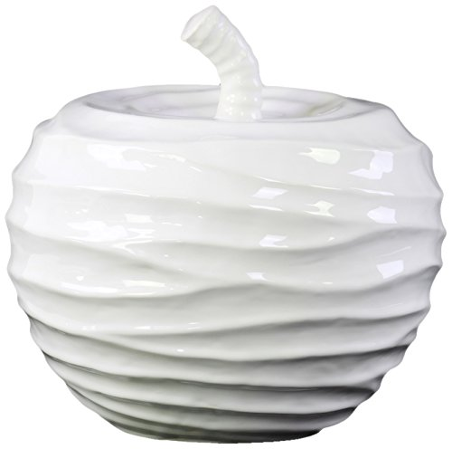 Urban Trends Ceramic Apple Figurine with Embossed Wave Surface, Large, Gloss White