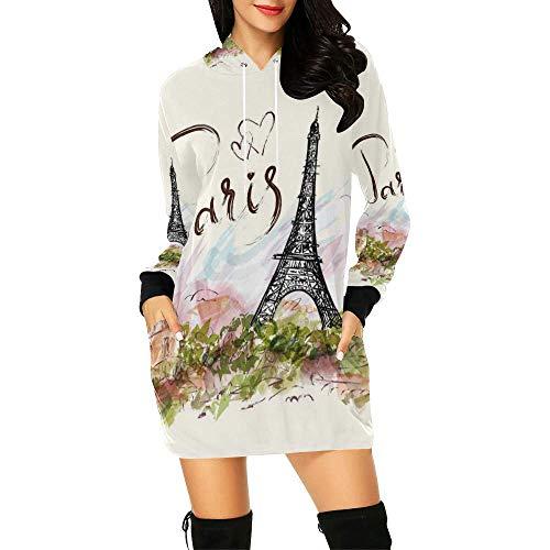 (InterestPrint Eiffel Tower Paris Women's Long Sleeve Hoodie Mini Dress Sweatshirt Large)