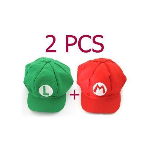 Gleader 2 Stueck Super Mario Kappe Cosplay Rot und Gruen