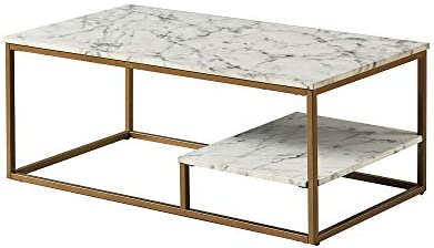 Versanora Marmo Coffee Table, Faux Marble Brass