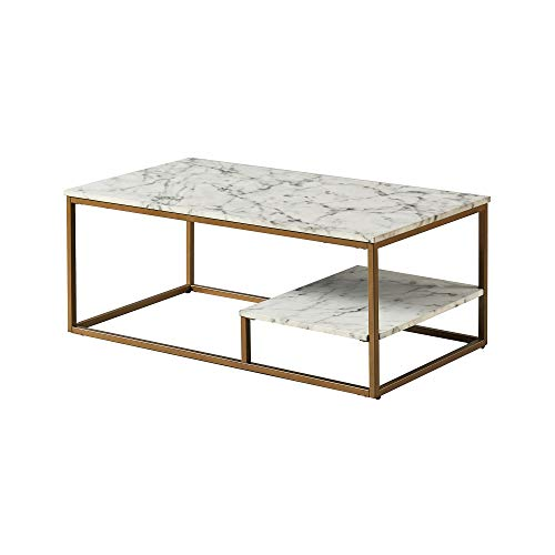 Versanora VNF-00036 Marmo Coffee Table, Faux Marble/Brass