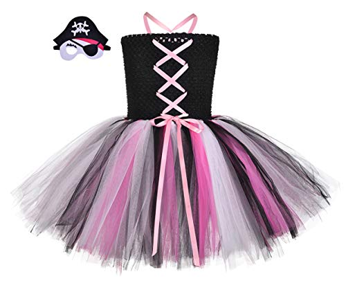 (MOCUER Halloween Pirates Dress Costume for Girls Party Role Play Tutu Dress Outfits with Accessories Small)