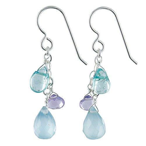 Apatite Chalcedony Earrings - Aqua Chalcedony, Apatite, Amethyst Multi Gemstone Sterling Silver Handmade Dainty Chandelier Dangle Multi Color Earrings