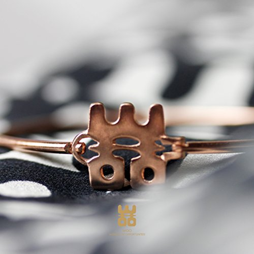 WOO 24ct Rose Gold-Plated Bangle | Exclusive Handcrafted Hook Bracelet Heavy-Plated with Real Rose Gold | Jewelley with Purpose from Worlds Of Opportunities by WOO (Image #1)