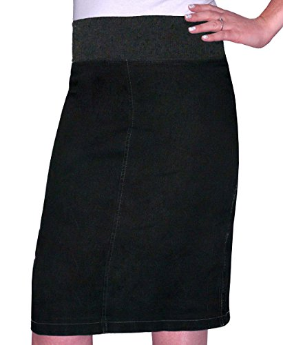Kosher Casual Women's Modest Straight Knee Length Denim Skirt XL Stonewash Black With Black Stitching (Straight Denim Skirt)
