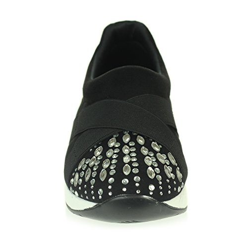 Womens Foam Walking Scarpe Gym Ladies Taglia Leggero Trainers Comfort Diamante Nero London Casual Aarz Memory Easy 1qaTR5wR