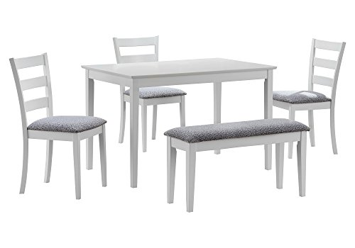 Monarch Specialties I 1210, Dining Set with a Bench and 3 Side Chairs, White