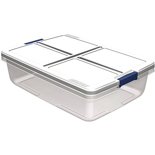 Hefty 34-Quart Latch Box, Clear Base, White Lid and Blue Handle