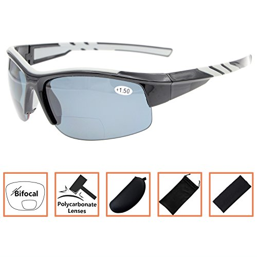 Sports Polarized Bifocal Sunglasses Half Rimless Tinted Glasses Wraparound Designer Style Polarised Sun Readers Black Frame Grey Lens+2.5 (Readers Bifocal Tinted Mens)