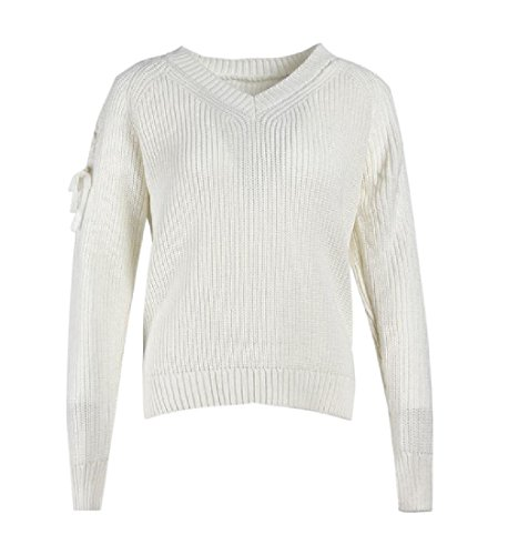 Elegante Beige In Maglione Pullover Femminile Solida Giacca Bianco Angelspace Morbido Forma Outwear vWrqAYvw