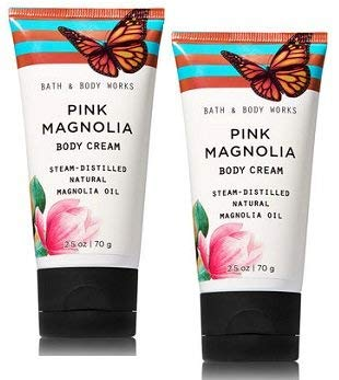 (Bath and Body Works 2 Pack Pink Magnolia with Magnolia Oil Travel Size Body Cream 2.5 Oz.)