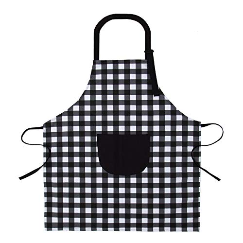 (Adjustable Bib Apron with Pockets - Unisex Buffalo Check Plaid Apron - Black and White Canvas Apron for Housework, Cooking, Baking, Crafting, Gardening - 100% Cotton)
