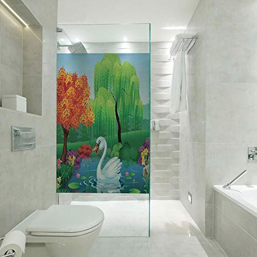 Glass Decorative Window Film Glass Sticker,Artwork of a Swan Floats on Mountain River in The Vivid Nature Springtime,Customizable Size,Suitable for Bathroom,Door,Glass etc,Green Blue Fuchsia ()
