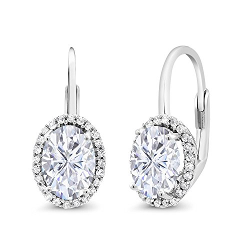 (10K White Gold Dangle Earrings Forever Brilliant (GHI) Oval 1.80ct (DEW) Created Moissanite by Charles & Colvard and Diamond)