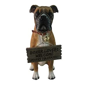 "World Of Wonders ""Tyson"" The Boxer Dog Garden Welcome Statue 20"