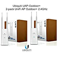 Ubiquiti UAP-Outdoor+ 2-pack UniFi AP Outdoor+ 2.4GHz PoE 802.11n 300Mbps 600ft