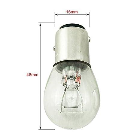 FEELDO 1157 BA15D P21//5W S25 12V Car Clear Glass Lamp Brake Tail Bulb Car Indicator Halogen Lamp Pack of 10