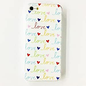 GHK - Love Heart Words Pattern Plastic Hard Case for iPhone 5/5S , Multicolor