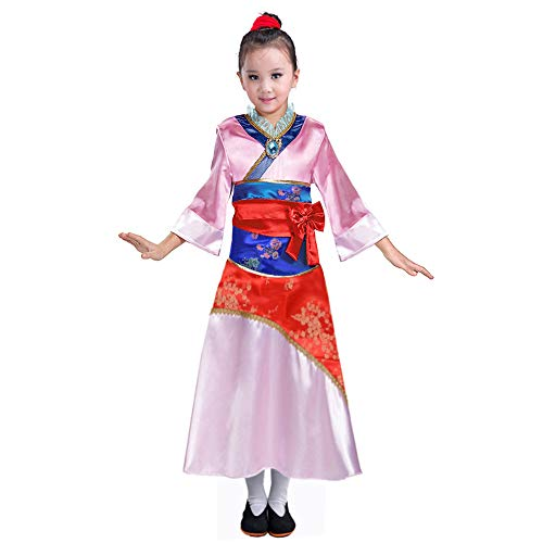 Wraith of East Mulan Costume Kids Chinese Princess Classic Girls Fancy Dress Halloween Party Pink (Pink, -