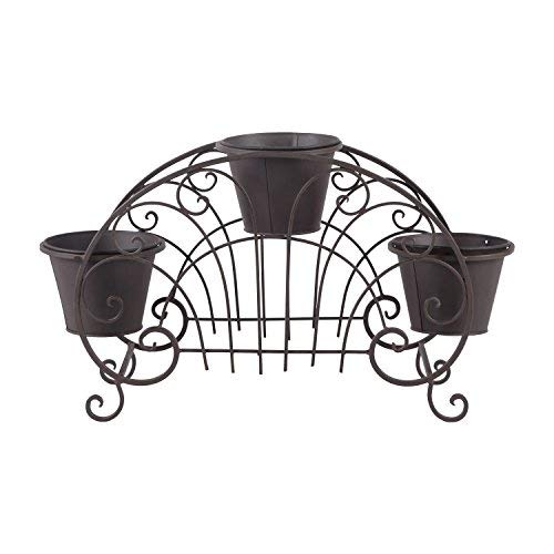 Homebeez 3-Tiered Scroll Classic Plant Stand Decorative Metal Garden Patio Flower Pot Rack Display Shelf Holds 3-Flower Pot with Modern Design (Brown 3 Tired)