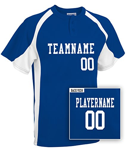 Teamwork Baseball Uniforms (Adult Custom Baseball 2-Button Jersey, Personalize w/ YOUR Names & Numbers-XL)