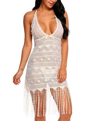 Avidlove Women Nightwear Lace Babydoll Strap Chemise Halter Lingerie V Neck Sleepwear White S