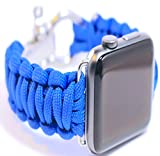 Chob's Compatible with Apple iWatch Band 42mm Paracord Sports Band Soft w/Rugged Genuine Stainless-Steel Clasp, Strong Paracord for Men and Women – Hot Pink & Dark Blue – Works w/Series 1, 2, 3, 4