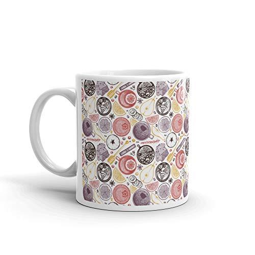 - Winter Drinks Pattern Mug 11 Oz Ceramic