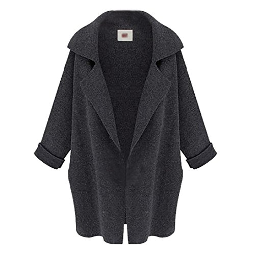 Wintialy Women Long Sleeve Oversized Loose Knitted Sweater Solid Cardigan Tailored Collar Trench Coat (Deep Gray, Free Size)