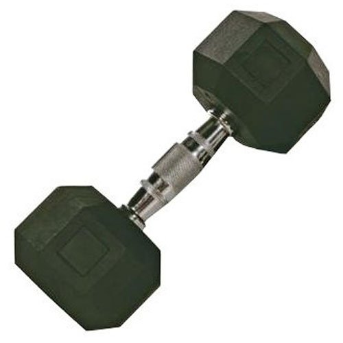 Troy Barbell VTX 8-Sided Rubber Encased SDR Dumbbell with Chrome Steel Contoured Handle (30-Pounds)