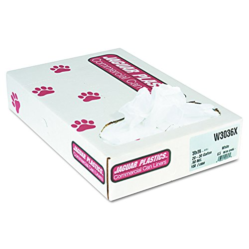 "Jaguar Plastics W3036X 30"" X 37"" Can Liner White E"" Xtra Heavy Duty (100-Pack) from Jaguar"