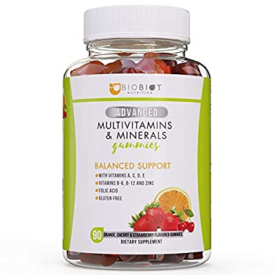 Advanced Biobiot Multivitamin Gummies for Women and Men – Adult Gummy Vitamins B, C, E, B12, B6, Calcium and More – 100% Gluten Free Formula - for Overall Health and Immune System Support