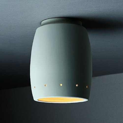 Justice Design Group Lighting CER-6135-BIS Flush-Mount with Ceramic Bisque Shades, White