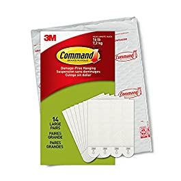 Command Large Picture Hanging Strips Heavy Duty, White, Holds up to 16 lbs, 14-Pairs, Easy to Open Packaging