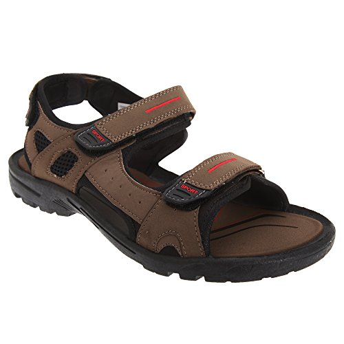 PDQ Mens Triple Touch Fastening Sports Sandals Brown wrMTT