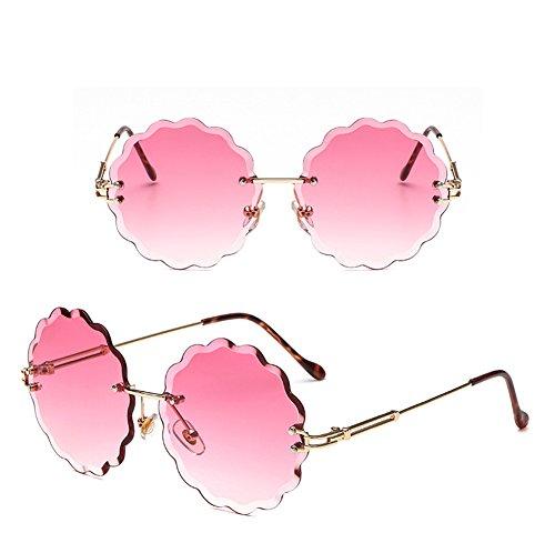 Gafas de Personality Gafas Moda Blue Unisex Color Trimming Flowers Frameless Pink Glasses Decoration Color Sol Marine wqxq0d5Hr
