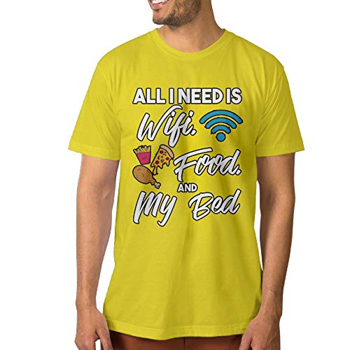 ShenigonAll I Need is WiFi Food and My Bed Men's Cool Short Sleeve T Shirt Yellow XXL