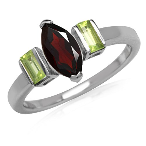 1.2ct. Natural Marquise Shape Garnet & Peridot White Gold Plated 925 Sterling Silver Ring Size 8