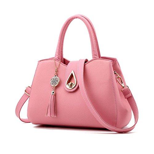 XibeiTrade Women Top Handle Lady Purse Shoulder Handbag Pink