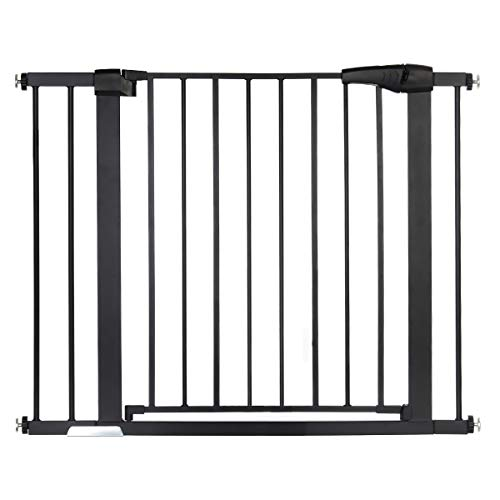 "40.5″ Auto Close Safety Gate, KingSo Baby Gate Extra Wide 29.5″-40.5"" Walk Thru for House Stairs Doorways Hallways Include 2.75"" & 5.5"" Extension Kits, 4 Pressure Bolts, 4 Wall Cups, 1 Key(Black)"