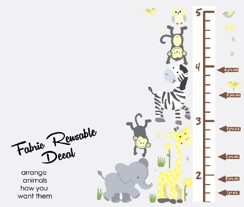 Wild Animals Yellow Gray Jungle Growth Chart Wall Decals Jungle