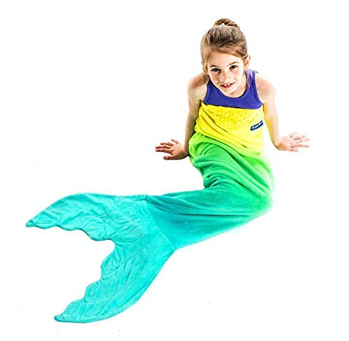 Mermaid Tail Blanket - Gorgeous, Yellow and Aqua Ombre Design - Double-Sided Minky Fleece Mermaid Tail Sized for Kids - Climb Inside This Cozy Wearable Blanket