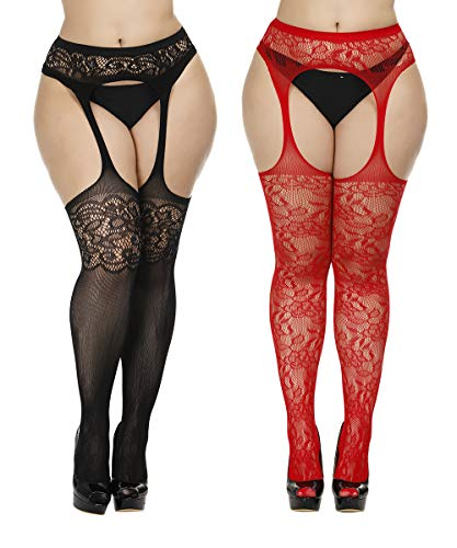 Womens Fishnet Suspender Tights plus size patterned pantyhose Stockings 2 Pack (Black and Red, Plus Size) ()