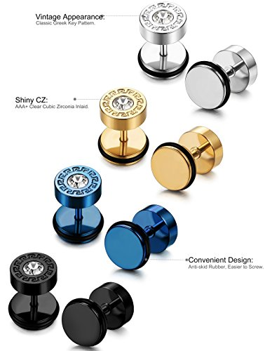 bbcbd8376 FIBO STEEL 4 Pairs Stainless Steel Mens Stud Earrings for Men Women Ear  Piercing Plugs Tunnel