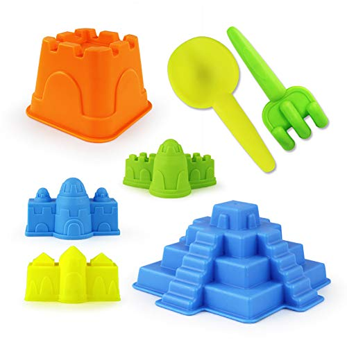 (gia0ncAcYG Kids Beach Toys,7Pcs/Set Kids Beach Pyramid Castle Rake Sand Tool Molds Pool Sandpid Toy Set, for Kids 3-12 7pcs )