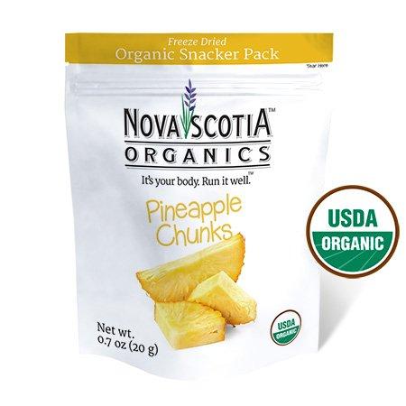 Nova Scotia Organics, Freeze Dried Pineapple Chunks Organic Snacker Pack, USDA Certified Organic