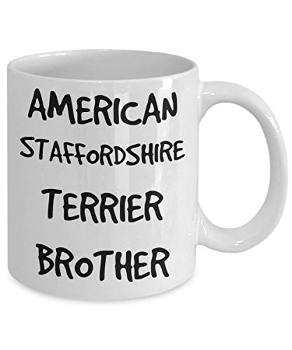 American Staffordshire Terrier Brother Mug - White 11oz 15oz Ceramic Tea Coffee Cup - Perfect For Travel And Gifts 2