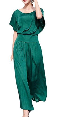 Cromoncent Women's Relaxed Palazzo Pants and Short Sleeve Top Two Piece Tracksuit Green Medium by Cromoncent